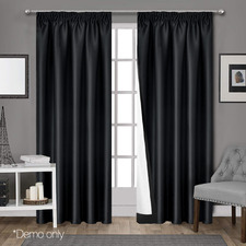 Black Art Queen Pencil Pleat Blockout Curtains (Set of 2)