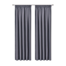 Dark Grey Art Queen Pencil Pleat Blockout Curtains (Set of 2)