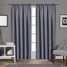 Dark Grey Art Queen Pencil Pleat Blockout Curtains (Set of 2)