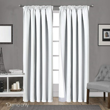White Art Queen Pencil Pleat Blockout Curtains (Set of 2)