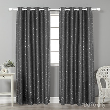 Grey Art Queen Star Blockout Curtains (Set of 2)