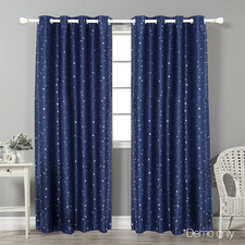 Navy Art Queen Star Blockout Curtains (Set of 2)