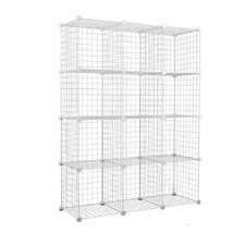 White 12 Cube Metal Wire Storage Cabinet