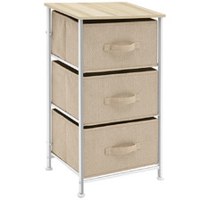 Beige Alexie Bedside Table with 3 Drawers