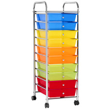 10 Drawer Multi-Coloured Kitchen Trolley Cart
