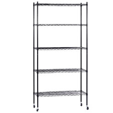 Black 5 Tier Wire Shelving Unit