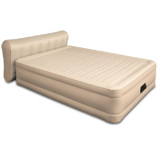 Beige Inflatable Air Bed with Built-In Pump