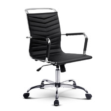 Eames Replica Mid-Back Faux Leather Office Chair