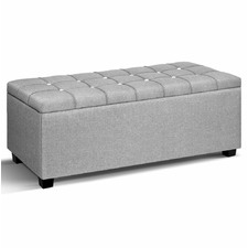 Grey Dunhill Faux Storage Ottoman