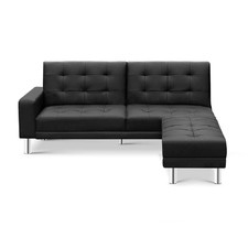Black Bentley 3 Seater Faux Leather Sofa Bed
