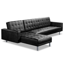 Black Cooper 4 Seater Faux Leather Sofa Bed