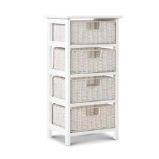 White Sarao 4 Drawer Storage Cabinet