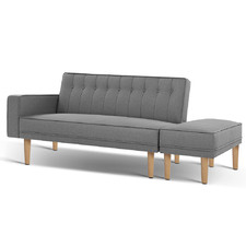 Grey 3 Lester Seater Sofa Bed with Ottoman