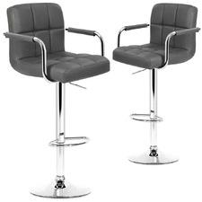 Noe Premium Faux Leather Adjustable Barstools (Set of 2)