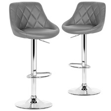 Ethen Adjustable Faux Leather Barstools (Set of 2)