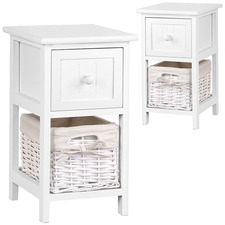 White Esther Wooden Bedside Tables with Storage Baskets (Set of 2)