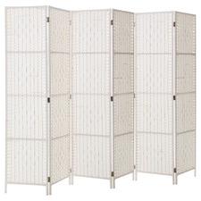 White Dorella 6 Panel Room Divider