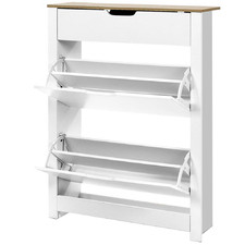 White Bianca 2 Tier Shoe Rack with Drawer