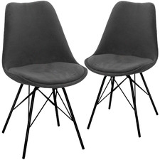 Light Grey Rupert Velvet Dining Chairs (Set of 2)