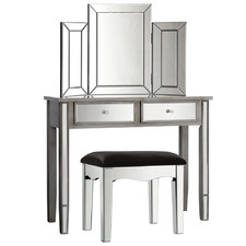 Grey & Silver Parisa Dressing Table & Stool Set