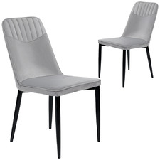 Grey Lavina Stackable Velvet Dining Chairs (Set of 2)