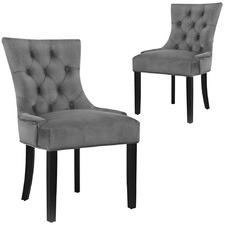 Grey Lucien Velvet Dining Chairs (Set of 2)