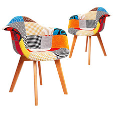 Eames Replica Patchwork Dining Arm Chairs (Set of 2)