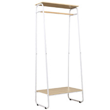 Natural & White Alaric Clothes Rack with Top Shelf
