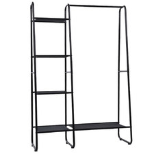 Black Alaric Portable Clothes Rack with Side Shelves