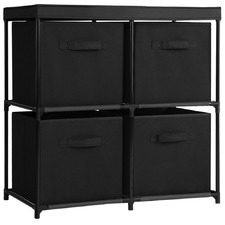 Black Alaric Storage Rack with 4 Removable Baskets