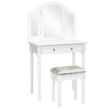White Lucina Dressing Table & Stool Set