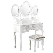 White Amara Dressing Table & Stool Set