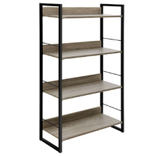 Natural & Black Hester 4 Tier Shelving Unit