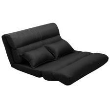 Black Valeri 2 Seater Floor Lounge with Cushions