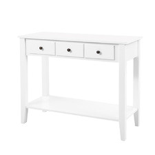 White Le Plasa 3 Drawer Console Table