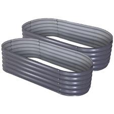 Oval Mazza Galvanised Steel Garden Beds (Set of 2)