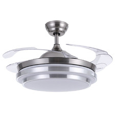 106cm Silver Retractable Blade Ceiling Fan with Tri-Colour LED