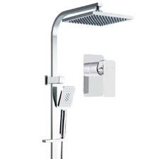 Square Chrome Rain Shower Head & Mixer Set