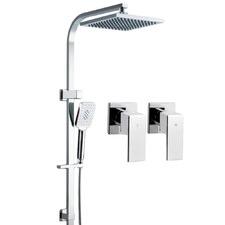 Square Chrome Rain Shower Head & Taps Set