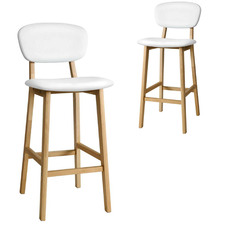 66cm White Tazio Faux Leather Barstools (Set of 2)