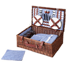4 Person Al Fresco Classic Picnic Basket with Insulated Blanket