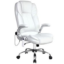 White Faux Leather 8 Point Office Massage Chair