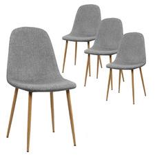 Light Grey Adam Faux Linen Dining Chairs (Set of 4)