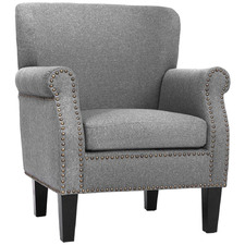 Grey Retro-Inspired Studded Linen Accent Chair