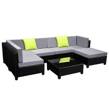 Hawaii 6 Seater PE Rattan Outdoor Lounge Set