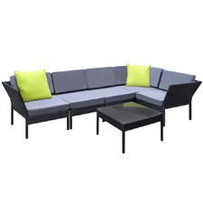 Aloha 6 Piece Stackable PE Rattan Outdoor Lounge Set