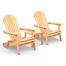 2 Seater Wood Adirondack Chairs & Side Table Set