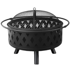 82cm Black Portable Outdoor Fire Pit & BBQ