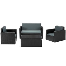 4 Seater Outdoor Wicker Lounge & Table Set