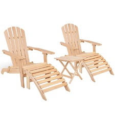 2 Seater Wooden Outdoor Table & Lounge Chair Set